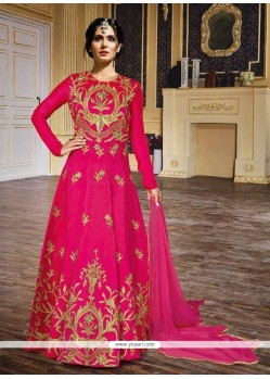 Excellent Hot Pink Embroidered Work Silk Anarkali Salwar Kameez