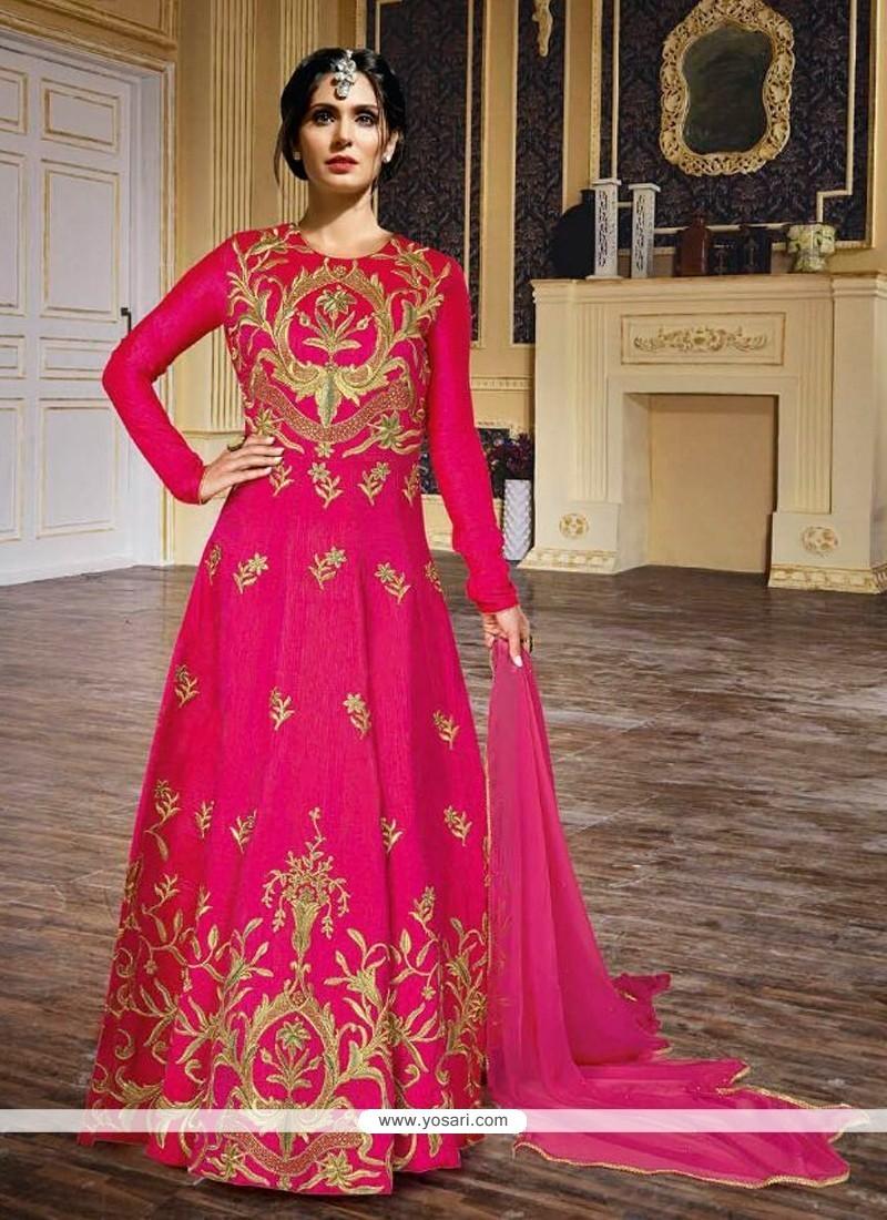 Excellent Hot Pink Embroidered Work Silk Anarkali Salwar Kameez