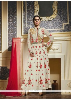 Gratifying Georgette Embroidered Work Anarkali Salwar Kameez