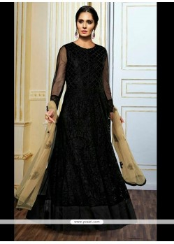 Stunning Black Embroidered Work Net Anarkali Salwar Kameez