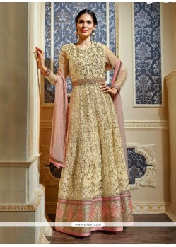 Picturesque Cream Embroidered Work Net Anarkali Salwar Kameez