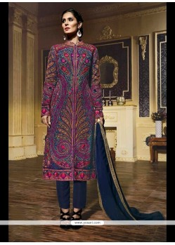 Scintillating Georgette Multi Colour Designer Suit