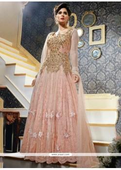 Suave Net Pink Anarkali Salwar Kameez