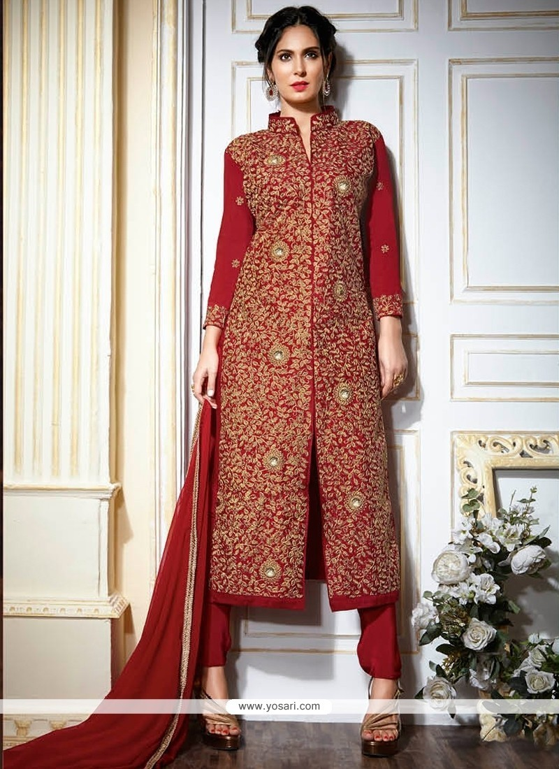 Winsome Red Fancy Fabric Designer Suit