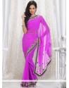Girlish Lavender Shade Faux Chiffon Saree