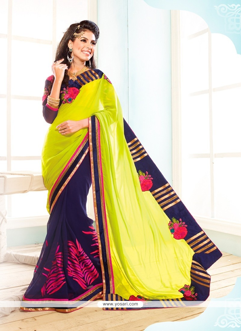 Navy Blue And Green Georgette Designer Saree