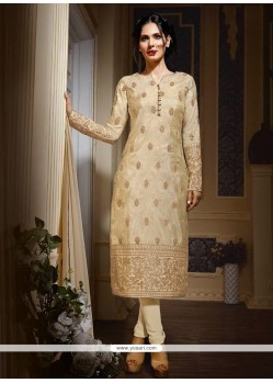 Sunshine Embroidered Work Beige Designer Suit