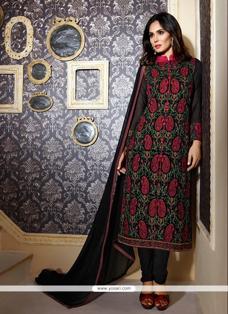 Distinctive Black Resham Work Georgette Designer Suit