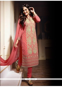 Aristocratic Georgette Pink Designer Suit