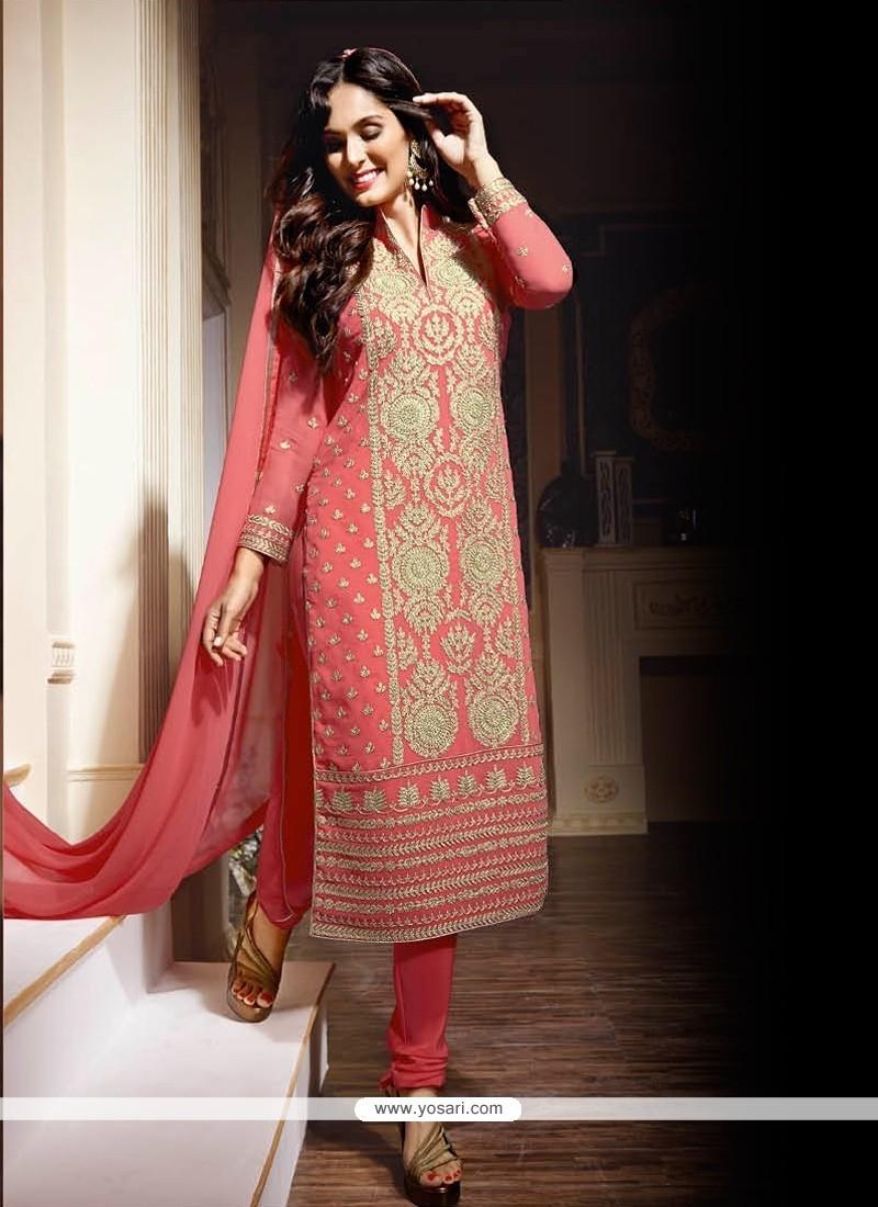 Aristocratic Georgette Pink Designer Suit