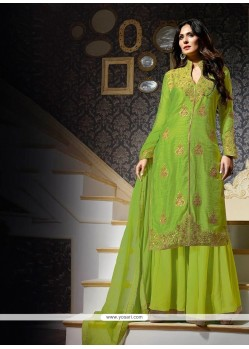 Green Georgette Designer Suit