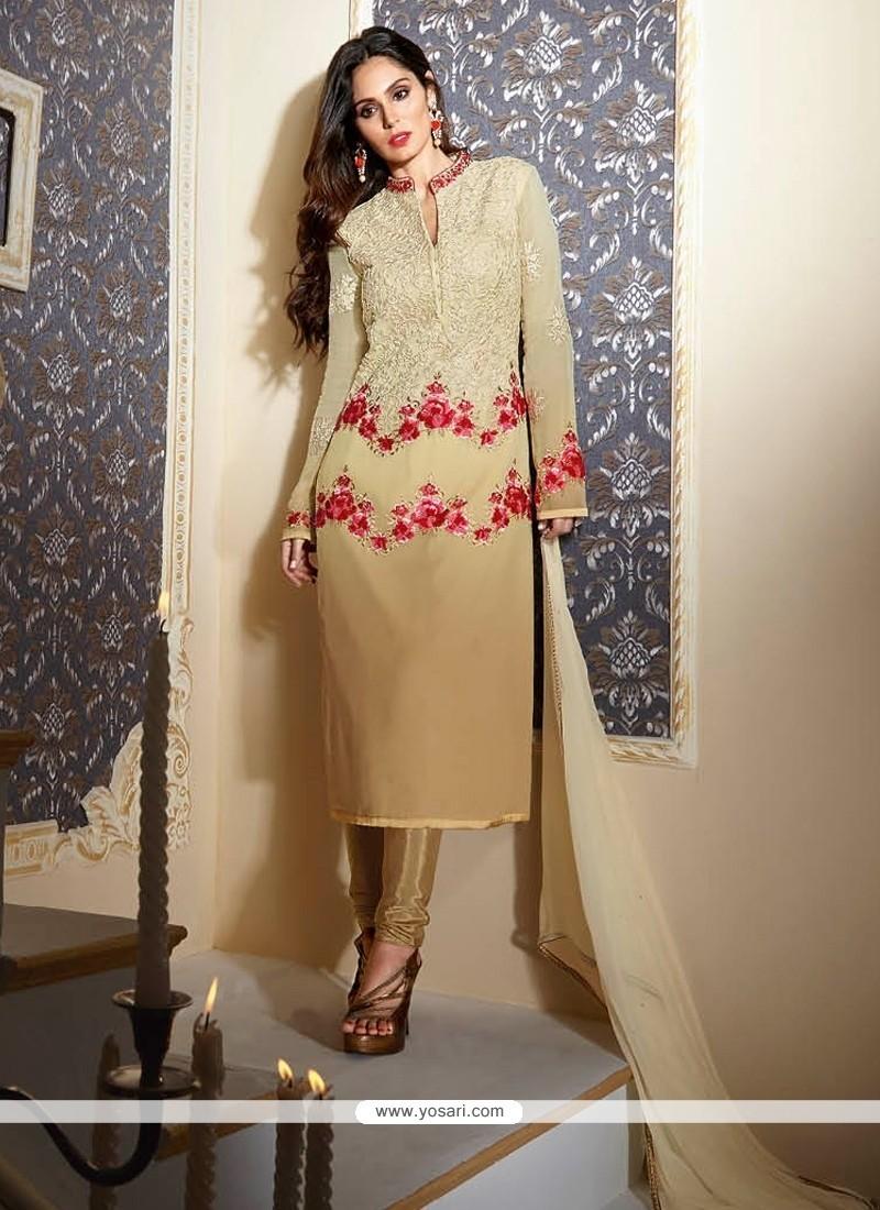 Absorbing Embroidered Work Beige Georgette Designer Suit