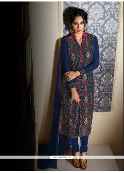 Girlish Georgette Navy Blue Designer Suit