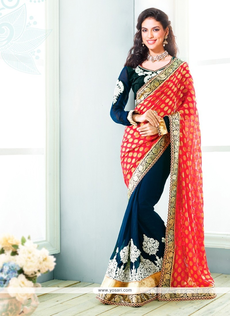 Navy Blue And Red Jacquard Wedding Saree
