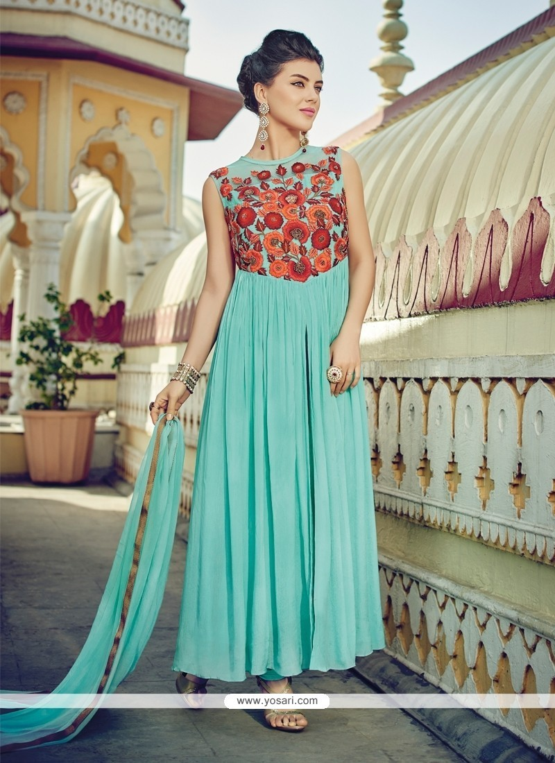 Mod Embroidered Work Turquoise Faux Chiffon Designer Suit