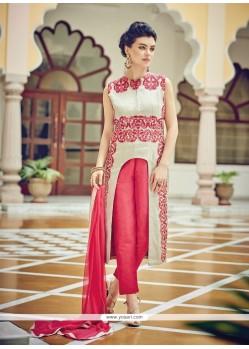 Cream Cotton Silk Designer Suit