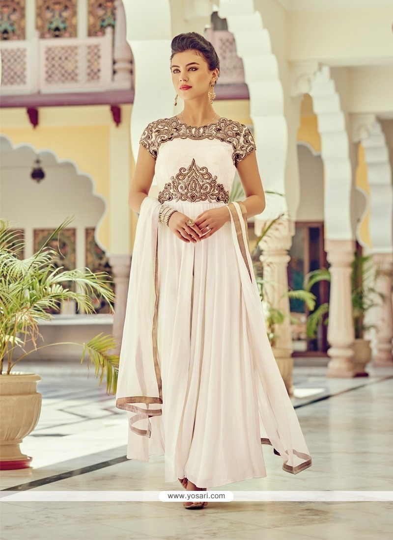 Elite Embroidered Work Off White Faux Chiffon Designer Suit