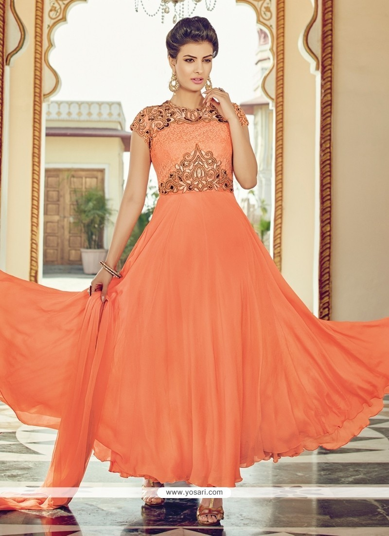 Monumental Embroidered Work Orange Faux Chiffon Designer Suit