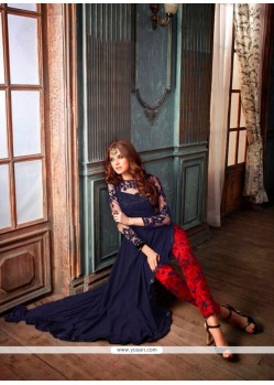 Heavenly Net Navy Blue Print Work Designer Suit