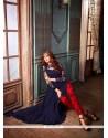 Heavenly Net Navy Blue Print Work Designer Suit