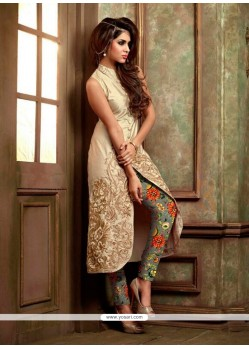 Engrossing Silk Beige Designer Suit