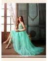 Graceful Turquoise Embroidered Work Net Designer Suit