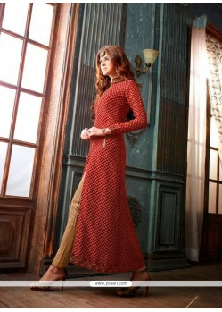 Absorbing Maroon Embroidered Work Designer Suit