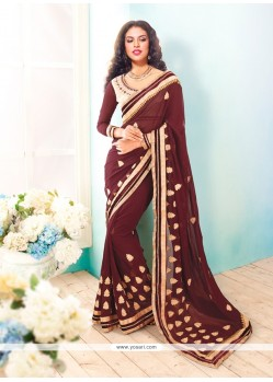 Exceptional Brown Patch Border Work Saree