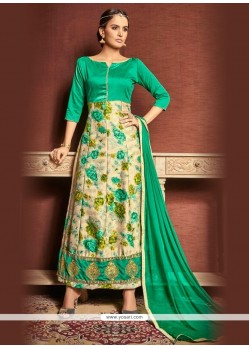 Renowned Print Work Sea Green Designer Suit