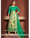 Renowned Print Work Sea Green Designer Suit