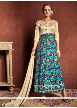 Trendy Multi Colour Print Work Bhagalpuri Silk Designer Suit