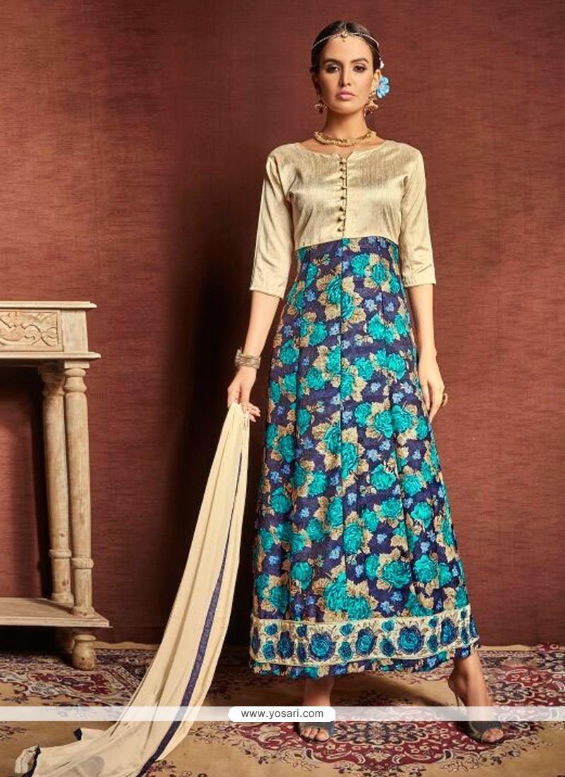 Trendy Multi Colour Print Work Bhagalpuri Silk Designer Suit