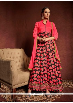 Mesmerizing Lace Work Multi Colour Bhagalpuri Silk Designer Suit