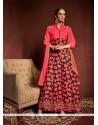 Mesmerizing Lace Work Multi Colour Bhagalpuri Silk Designer Suit