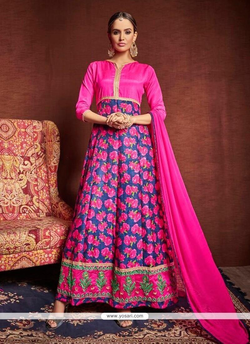 Beautiful Lace Work Hot Pink Designer Suit
