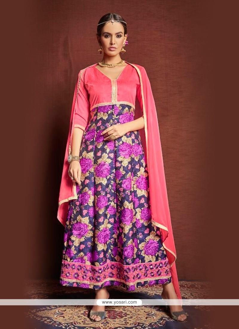 Charismatic Multi Colour Print Work Bhagalpuri Silk Designer Suit