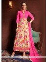 Sparkling Hot Pink Print Work Designer Suit