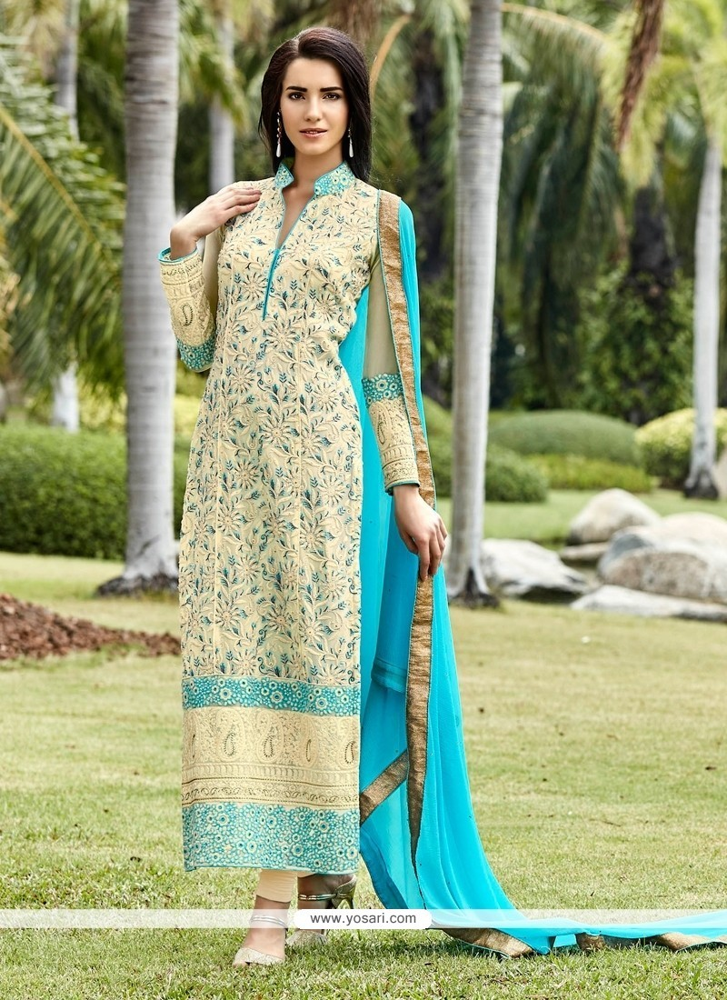 Ravishing Resham Work Cream Designer Suit