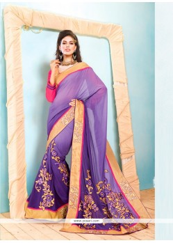 Lavender And Purple Shaded Georgette Saree