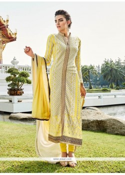 Conspicuous Fancy Fabric Yellow Designer Suit