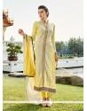 Conspicuous Fancy Fabric Yellow Designer Suit