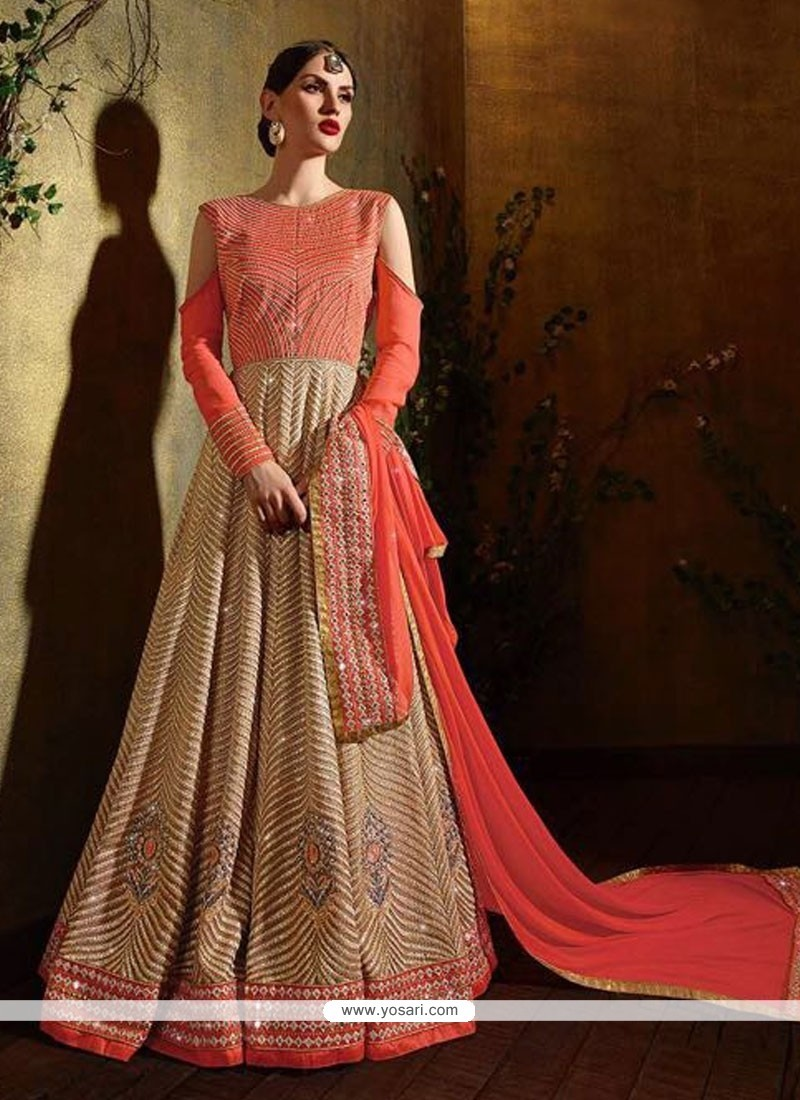 Exceeding Embroidered Work Orange Georgette Anarkali Salwar Suit