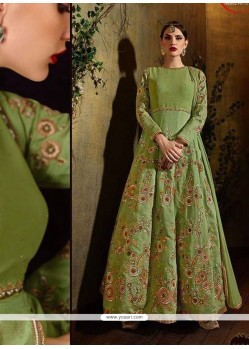 Fetching Green Raw Silk Anarkali Salwar Suit