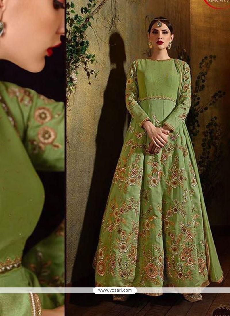 Fetching Green Raw Silk Anarkali Salwar Suit