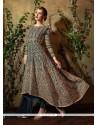 Invigorating Green Embroidered Work Georgette Anarkali Salwar Suit