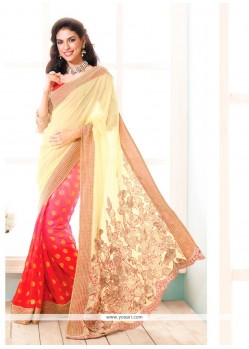 Deserving Cream And Pink Jacquard Designer Saree
