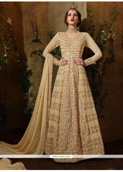 Intriguing Georgette Beige Anarkali Salwar Suit