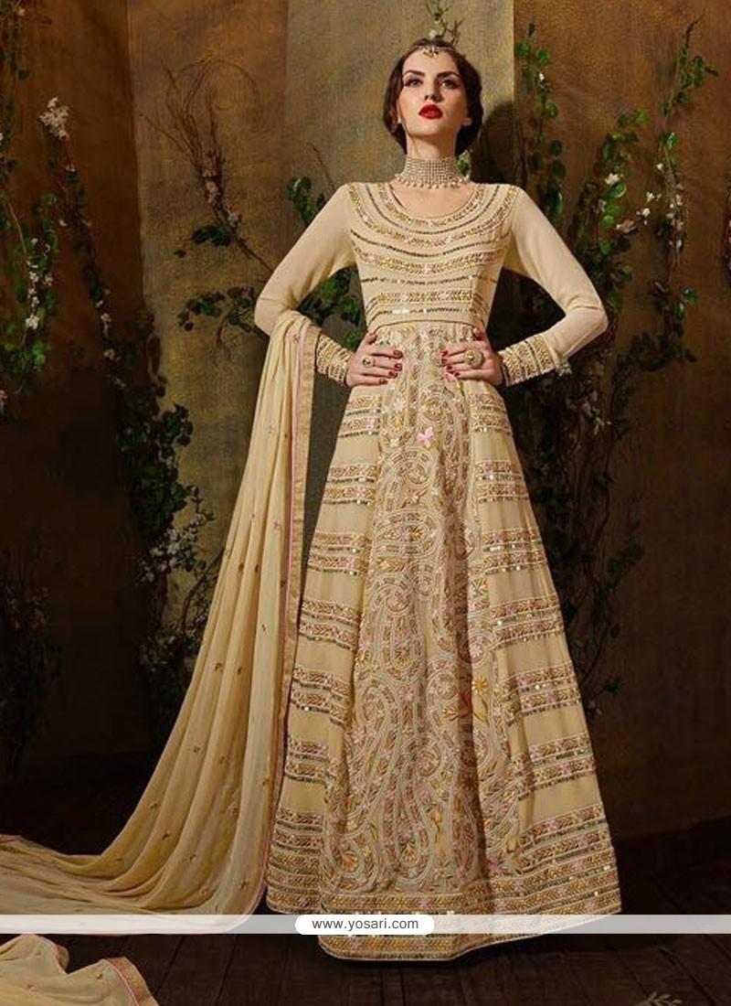 Intriguing Georgette Beige Anarkali Salwar Suit