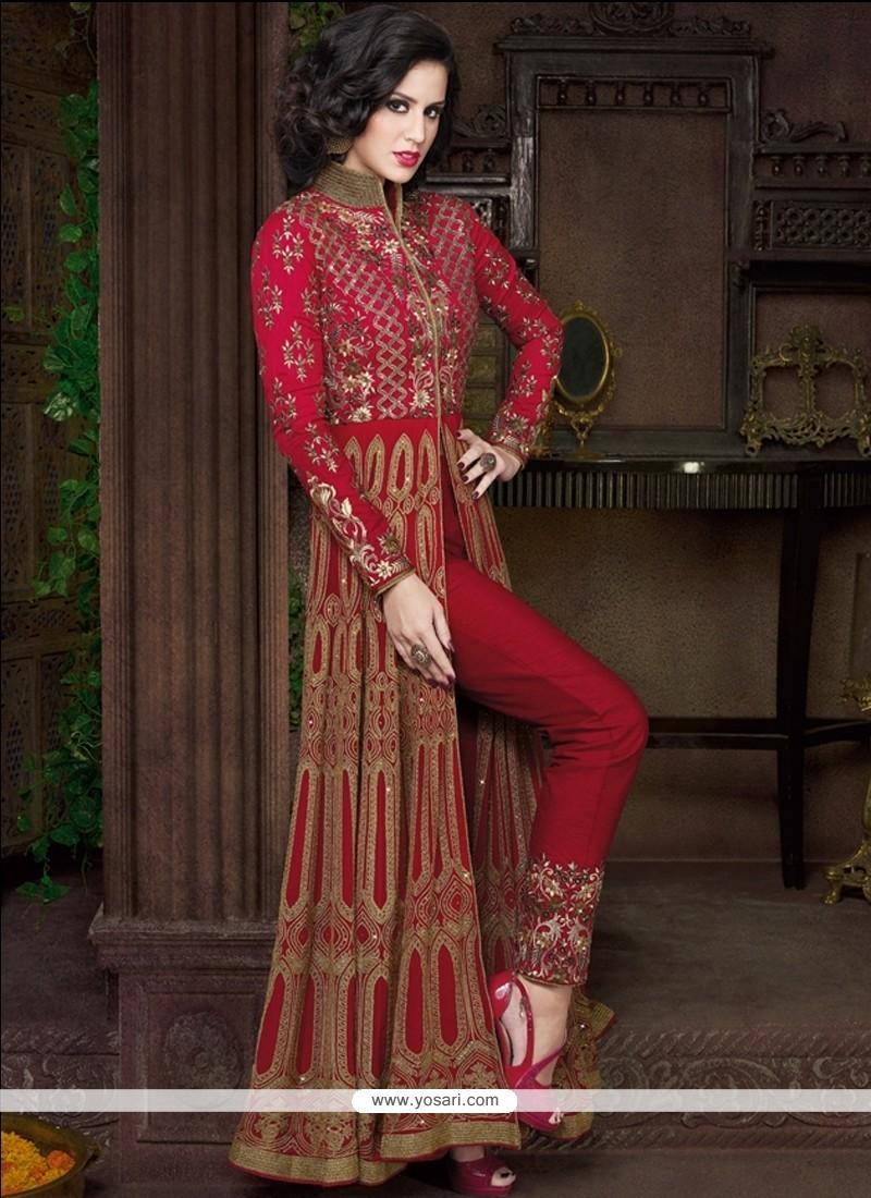 Piquant Maroon Resham Work Georgette Designer Suit