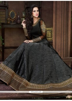 Delightful Silk Embroidered Work Anarkali Salwar Kameez